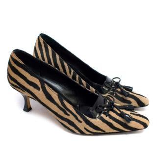 Jimmy Choo Pony Hair Tiger Striped Kitten Heels