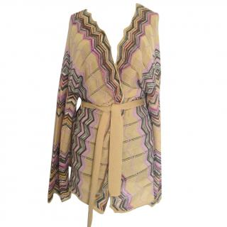 M Missoni Yellow multicolor zigzag belted knit cardigan