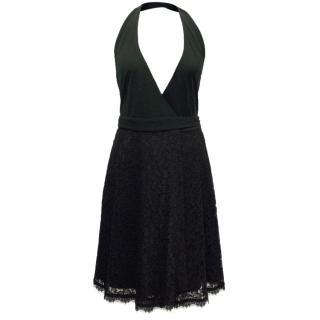 Diane von Furstenberg Black Partial Lace Halter Dress