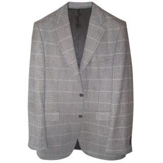 Daks Check Smart Tweed Wool and Cashmere Jacket 38 Long