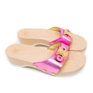 Scholl by Celine Open Toed Clogs with Leather Strap