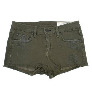Rag and Bone Olive Green Ripped Denim Shorts
