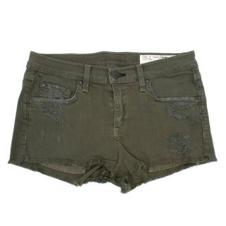 Rag and Bone Olive Green Ripped Denim Shorts