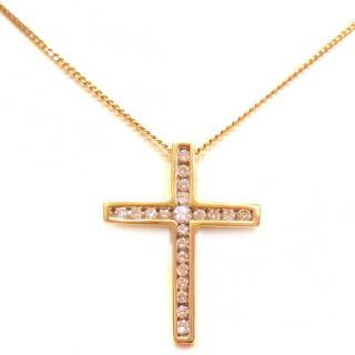 Diamond Cross & Chain 18ct Gold 0.25ct