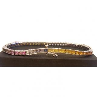 Stunning Vintage Rainbow Sapphire Bracelet 14ct Gold