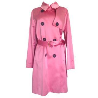 Celine pink silk trench coat