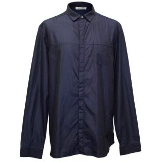 Pierre Balmain Men's Navy Blue Button Up Shirt