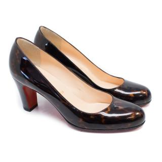 Miss Tack Patent Leather Pumps Tortoise Shell Print