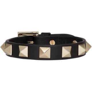 Valentino Black Leather Rockstud Bracelet